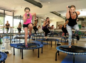 Get a great cardio and strength workout on a mini-trampoline at DEFINE body&mind. Photo courtesy of DEFINE body&mind